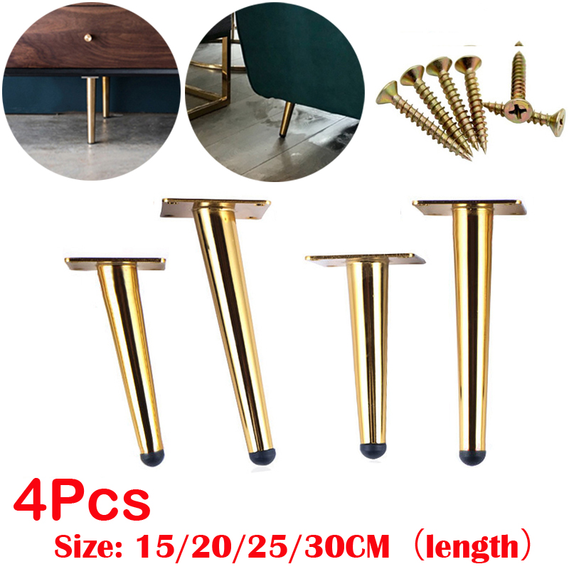 4Pcs Stainless Furniture Table Legs TV Cabinet Foot Sofa Leg Hardware Cabinet Feet 12/15/20/25/30CM Tapered Leg Load 900KG