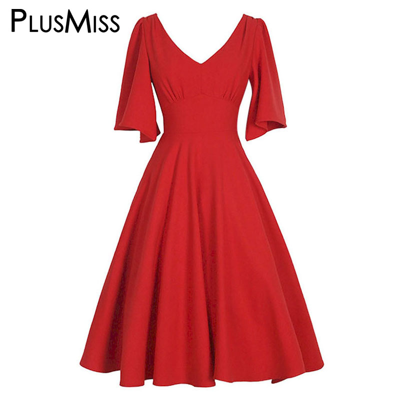 PlusMiss Plus Size 5XL L Vintage Retro 50s Elegant Sexy V Neck Party Dresses Women Big Size Black Red Blue Midi Dress Robe Femme