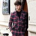 Бренд мужской Одежды 2016 Новый Плед Англии мужские костюм куртки мужские формальные свадебное костюм этап пальто костюм мужчины одной кнопки костюм