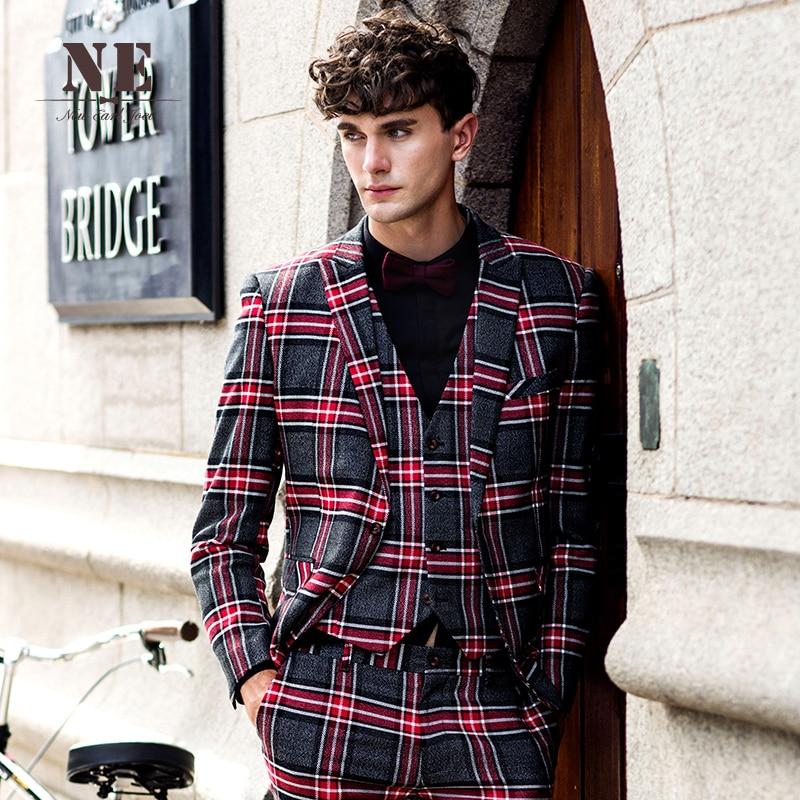 Brand Men's Clothing 2016 New Plaid England mens suit jackets mens formal wedding suit coat stage suit men single button suit