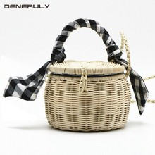 2019 Rattan Beach Woven Bags Women Bucket Cylindrical Straw Shoulder Bags Ladies Strandtas Handbags Sac En Paille Bolso Paja настенное бра alfa paja 12030 paja плафон 8704 1 шт
