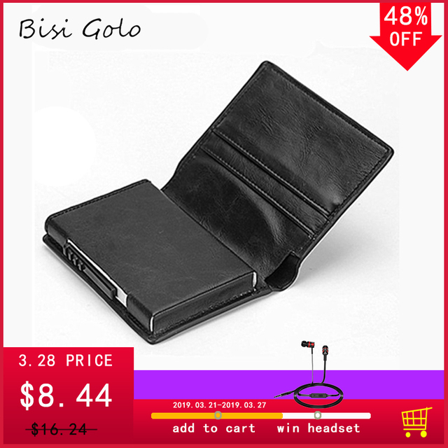 78c20824e0dd BISI GORO New Slim Credit Card Holder Wallet Aluminium Men Women Metal  Wallet for Cards Business