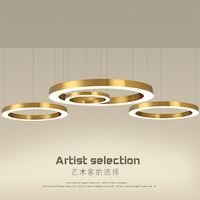 Modern LED Pendant Lights lamps for Nordic living room dining room study bar office decoration family gold ring Pendant Lamp