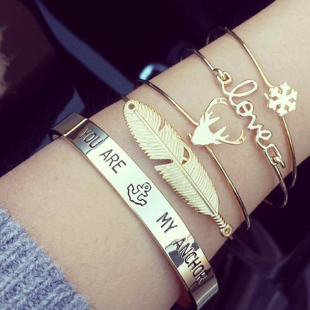 HOMOD 4pcs/set Newest Fashion Accessories Trendy Antlers Leaf Snowflake Cuff Bracelet For Women Girl Best Friend Gift