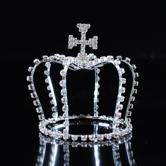 Cross Style Small Crown Clear Rhinestone Crystal Tiara Diadem Quinceanera Birthday Party Prom Pageant Hair Accessories