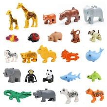 Animals Blocks Toys Compatible font b Duploed b font Giraffe Elephant Panda Lion Monkey Crocodile Hippo