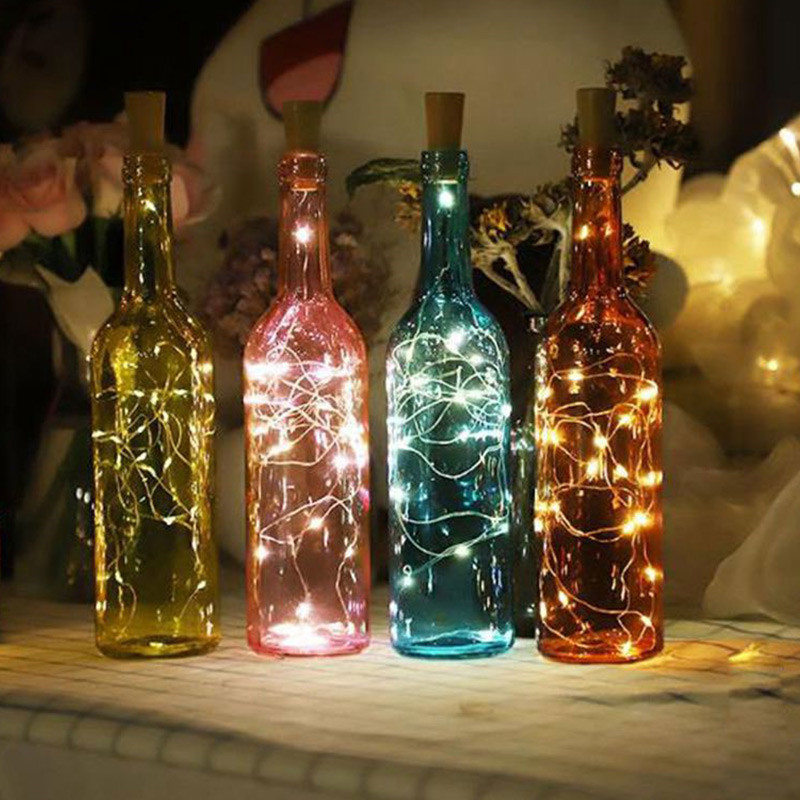 Silver Wire Fairy Garland Bottle Stopper 2M For Glass Craft LED String Lights Wedding Christmas New Year Holiday Decoration