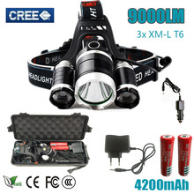 led Flashlight Torch 3T6 headlamp 3x XM-L T6  LED Headlight 9000 Lumen Head Lamp Lanterna Headlamp with box for camping