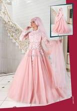 Venedig Spitze Appliques High Neck Long Sleeves Rosa Muslim Abendkleid Islamische Türkische Formales Kleid robe de soiree