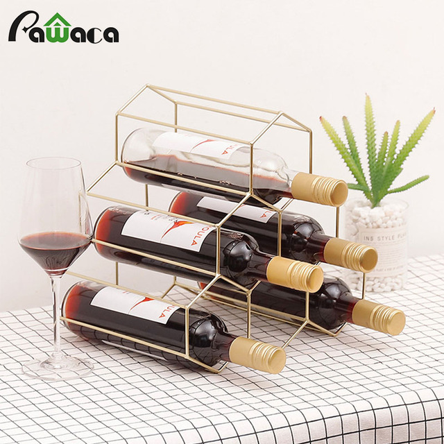 Nordic Style Red Wine Rack Metal Iron Triangle Wine Rack Bottle