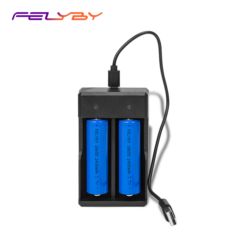FELYBY USB fast li-ion battery charger 18650 18350 16340 10440 14500 Charging protection battery charger Support most batteries 18650 li ion battery charging stand in car charger travel charger set black