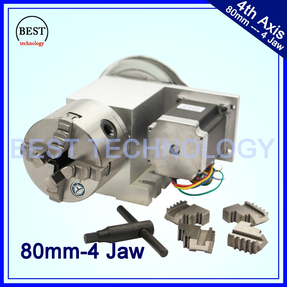 4 Jaw 80mm CNC 4th Axis Reduction ratio 6 1 CNC dividing head Rotation A axis