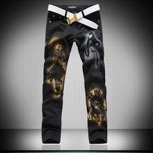Горячие Мужские дизайнеры 3d волк лим необычные мужские джинсы Брюки мужские Готический Брюки Мужской Длинные Джинсы Черные Брюки MB16229