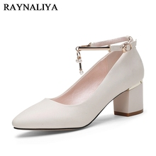 2018 Women Pumps Shoes Middle Heels Pointed Toe Woman Dress Party Office Casual Big Size 35-40 YG-A0137