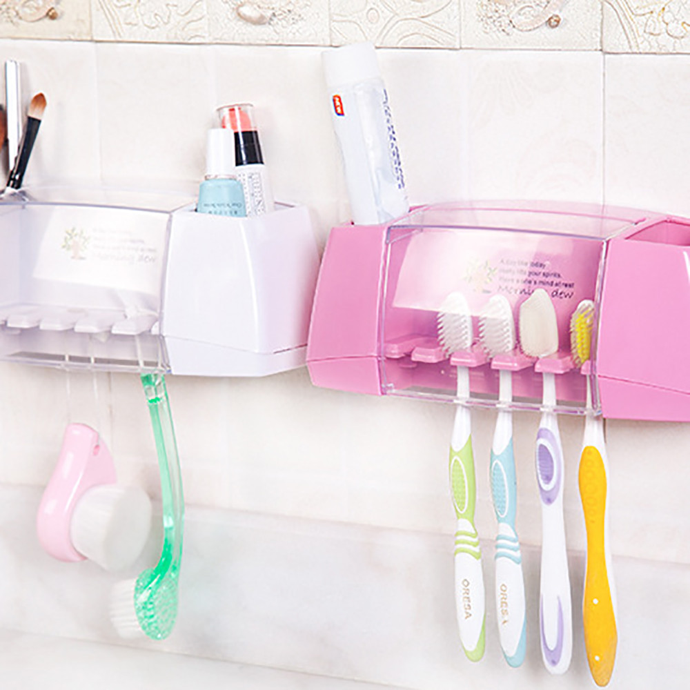 New Hanging Bathroom Kitchen Utensil Box Toothbrush Storage Rack Wall Mount Toothbrush Holder Brush Suction Holder Storage