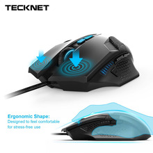 Tecknet Professional Ergonomic Optical Wired Computer Gaming Mouse 7000DPI 8 DPI Adjustment Levels 8 Programmable Buttons Mice