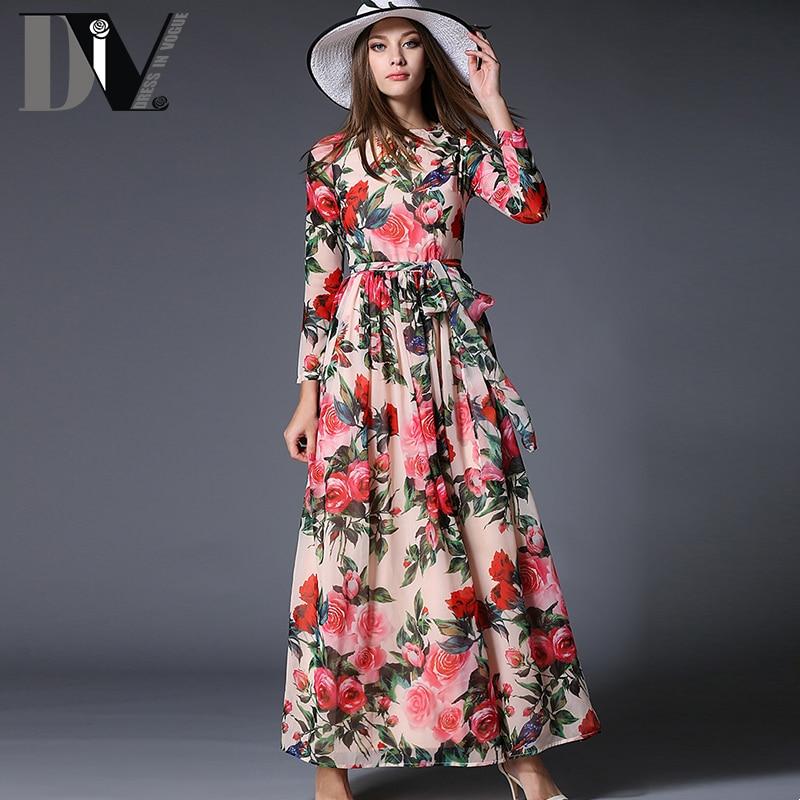 d433b1997396 DIV Flower Print Big Swing Dresses Women Three Quarter Sleeve Chiffon Party  Long Bow Vestidos Soft Comfortable Casual Maxi Dress
