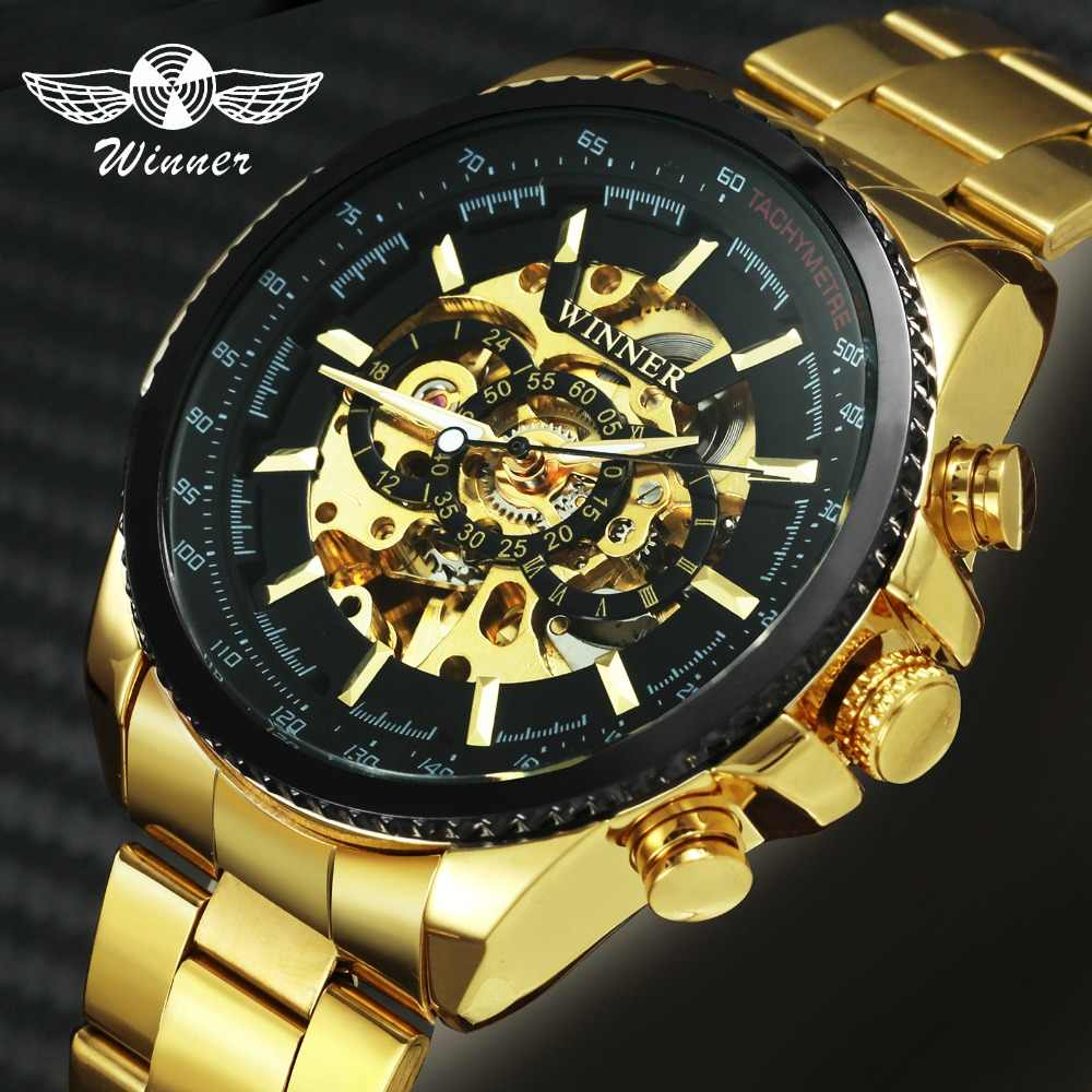 WINNER Top Brand Luxury Men Auto Mechanical Watch Stainless Steel Strap Skeleton Dial FORSINING Male Wristwatch New Year Gift