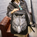 Backpack backpack, male female Korean tide cool personality 3D leather bag student bag new Wolf