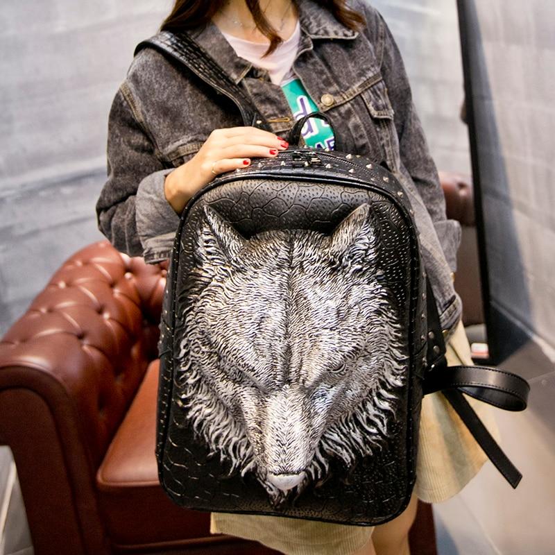 Sac à dos sac à dos, homme femme marée coréenne cool personnalité 3D sac en cuir étudiant sac nouveau loup