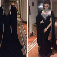 2016 kristall Elegante Long Black Abendkleider Perlen Sexy Cape Stil Neueste Mermaid Abendkleider Dubai Arabische Party-kleid
