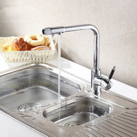 Polished Chrome Brass Kitchen Faucet Three 3 Way Kitchen Mixer Taps Pure Water Faucet Deck Mount