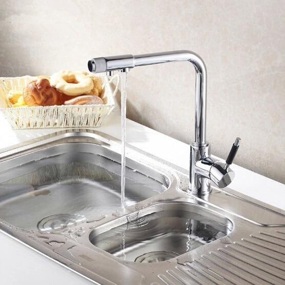 Polished Chrome Brass Kitchen Faucet Three 3 way Kitchen Mixer Taps Pure Water Faucet Deck Mount смеситель tera polished brass 512590 blanco