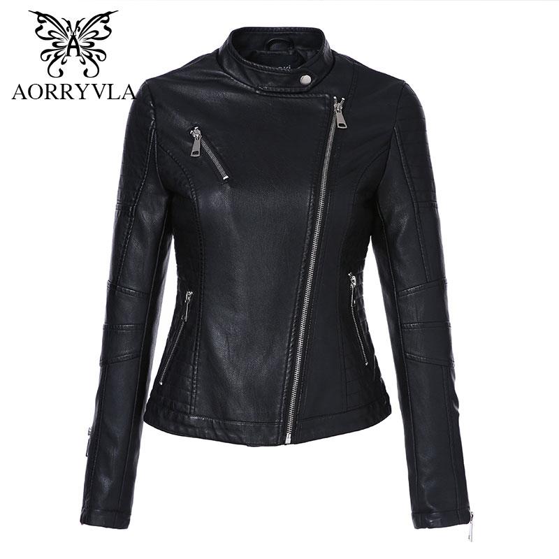 AORRYVLA 2018 Autumn New Fashion Women   Leather   Jacket Full Sleeve Short Zippers Motorcycle Slim Female Black PU   Leather   Jacket