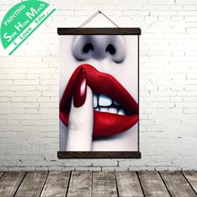 Linda Red Lips Nails Scroll Painting Canvas Vintage Poster and Prints Wall Art Pictures Bedroom Farmhouse Decoration