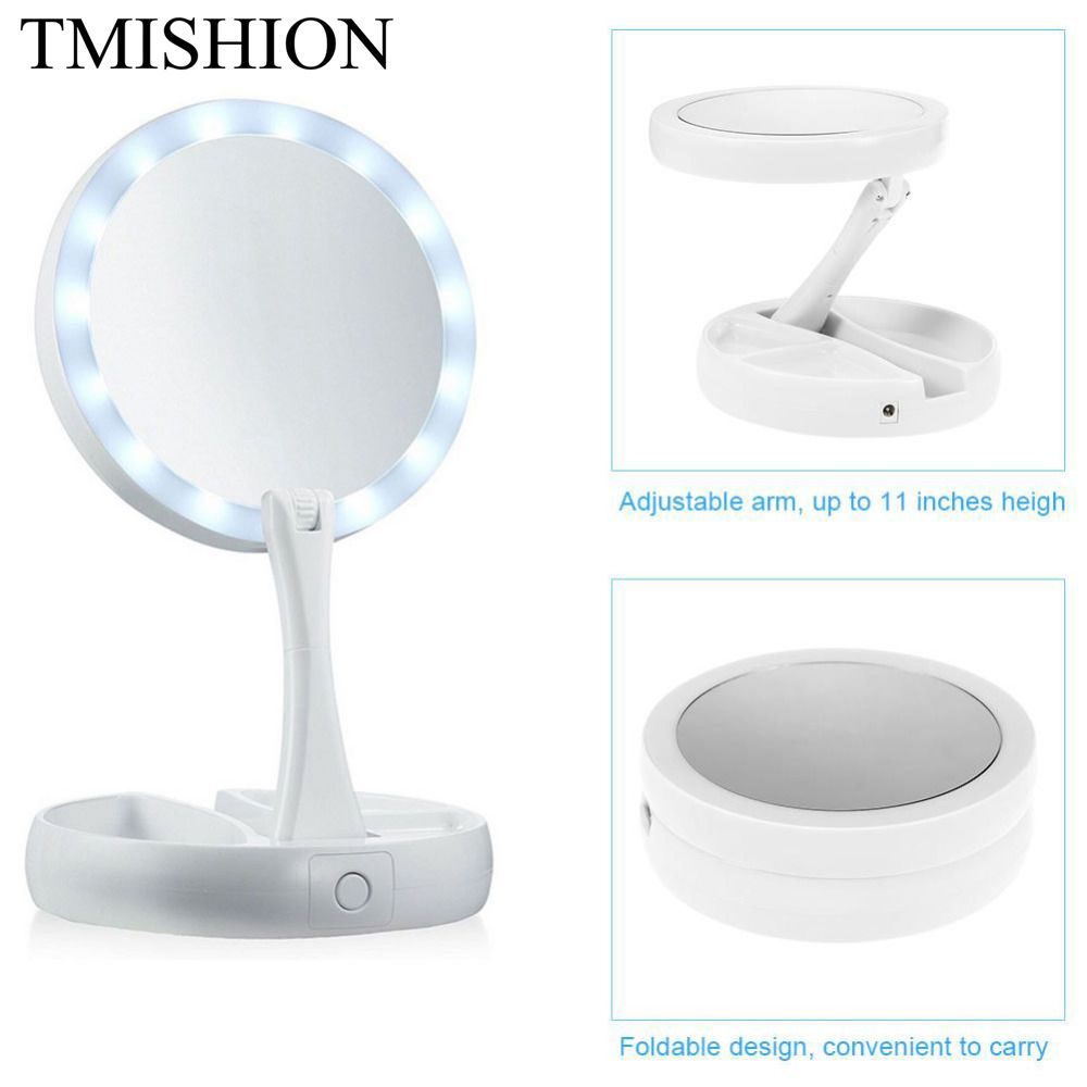 TMISHION Foldable LED Makeup Mirror Portable Round Facial Makeup Desktop Cosmetic 10X Magnification Lighted Nail Salon Tools
