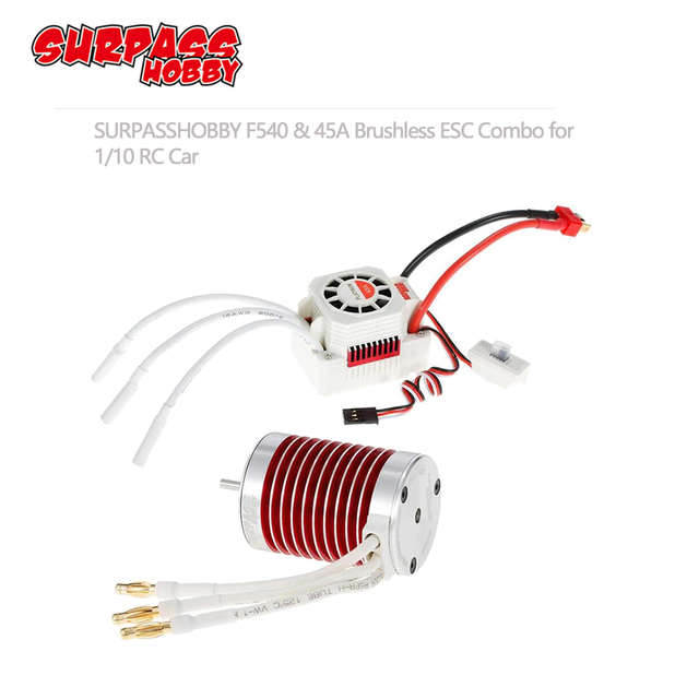SURPASSHOBBY Platinum Waterproof Series F540 4370KV 3930KV 3300KV 3000KV Brushless Motor with 45A ESC for Traxxas TRX 4 1/10 Car