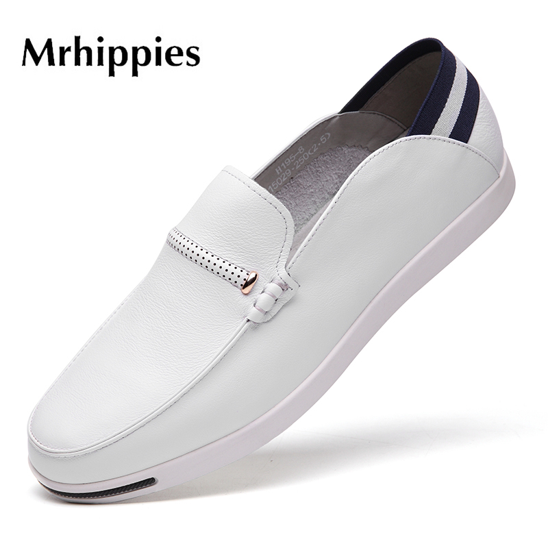 MRHIPPIES 2017 Summer Luxury Genuine Leather Flats Loafers Men Shoes Casual Fashion Slip On Driving Breathable Size 38-43 big size 39 48 men flats summer genuine leather loafers breathable driving shoes moccasines slip on male casual shoes xk032808