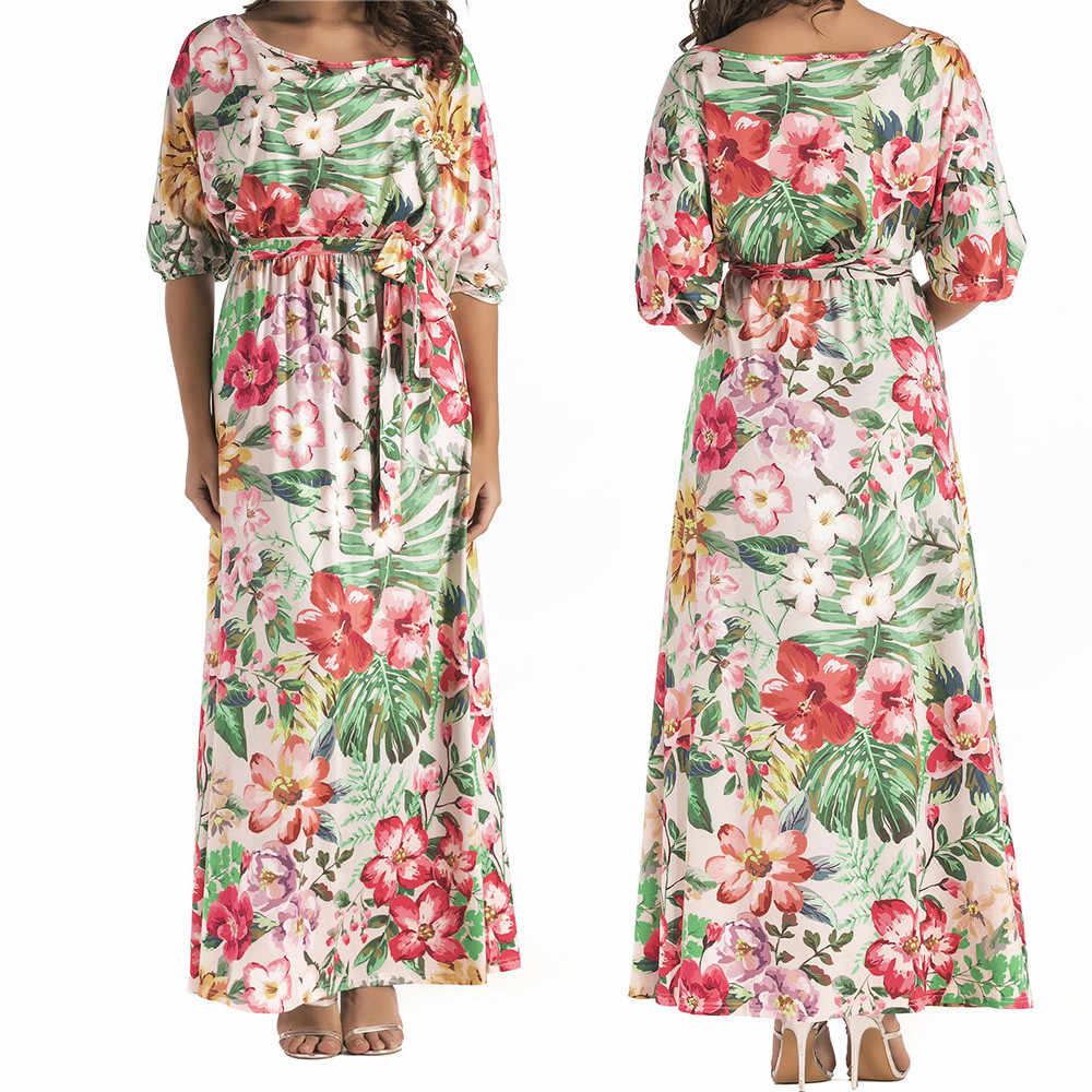 Kobiet Plus Size luźne kwiat wydruku bez ramiączek Batwing rękaw Boho Chic Tie długa sukienka