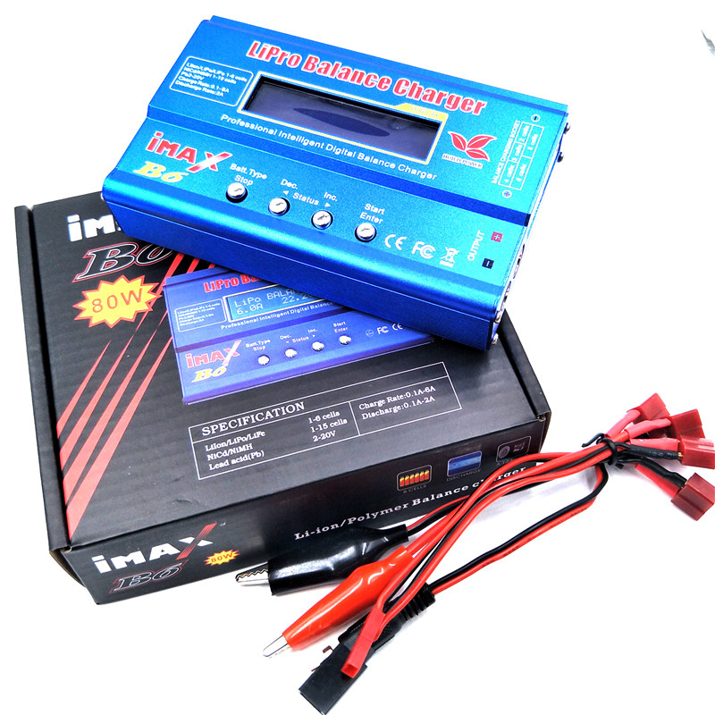 IMAX B6 80W AC Lipo Battery Charger LCD Screen Digital Nimh Nicd Lithium Battery Balance Charger Turnigy For RC Helicopter Car ac battery charger cradle for canon nb5l digital camera