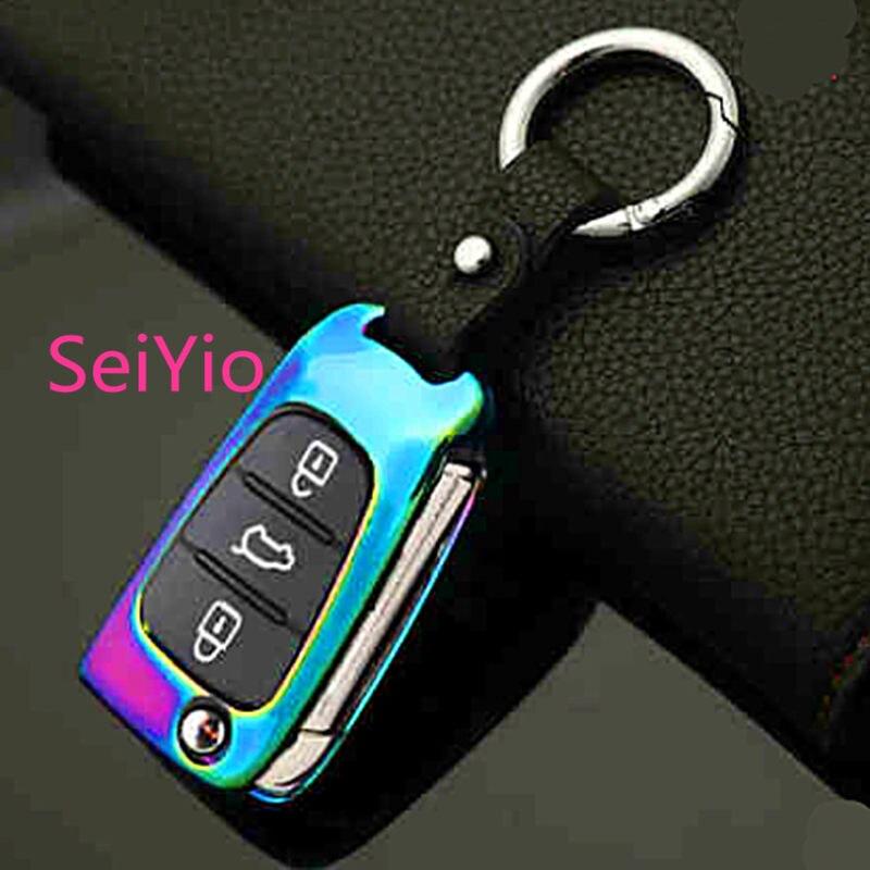 Hot Selling SeiYio Car key ring bag for KIA Mental & Leather Fashion style car cover for KIA key
