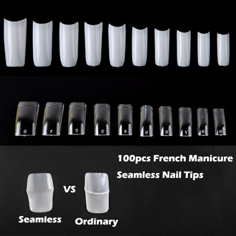 100Pcs Seamless Nail Art Half Cover French Manicure False Nail Tips ...