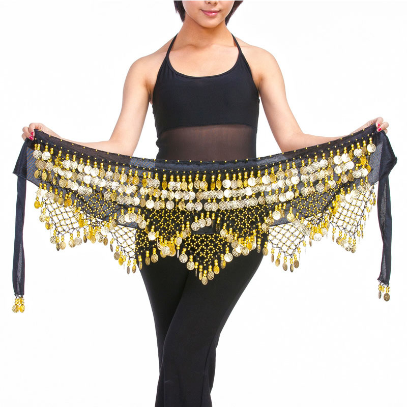 New Style top selling belly dance waist chain hip scarf bellydance coins belt dancing waist belt, 12 colors for your choice(China)