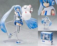 Anime Hatsune Miku Snow Miku Yuki Painted PVC Action Figure Figurine 14cm