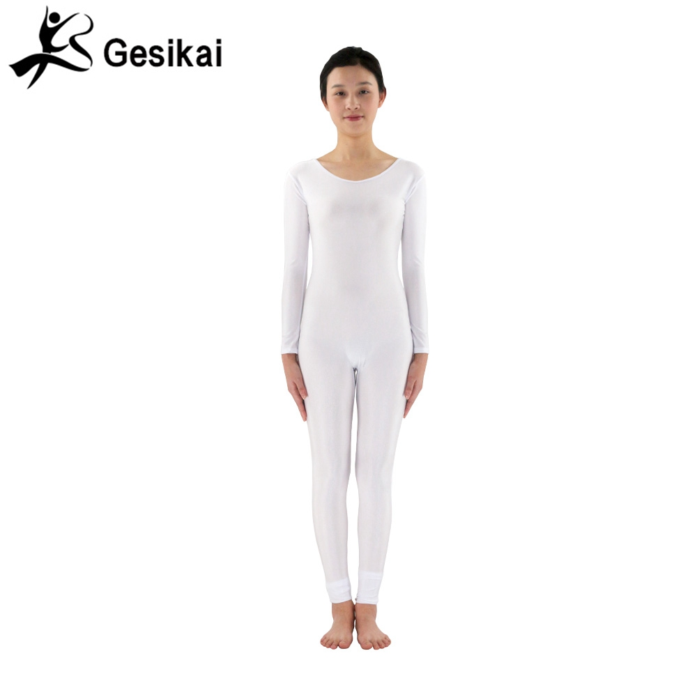 24 Hrs Shipped Out Womens White Yoga Costumes Gymnastics Unitards Spandex Lycra Round Collar Dancewears