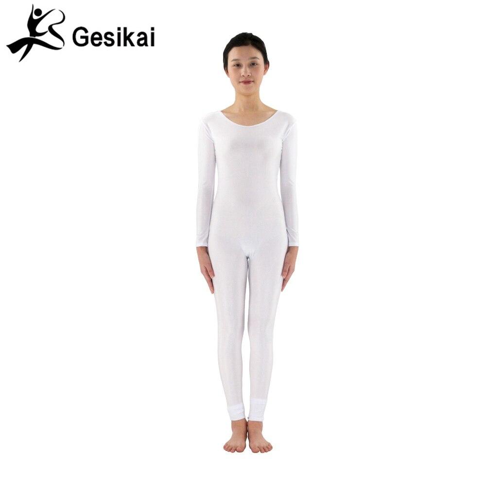 24 სთ ქალთა თეთრი იოგის კოსტიუმები ტანვარჯიშის განყოფილებები Spandex Lycra მრგვალი საყელოები Dancewears