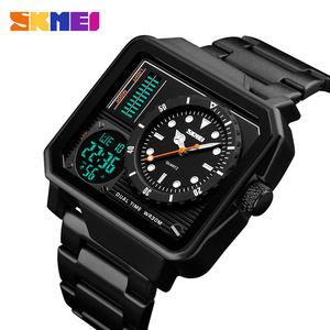 Image 4 - Часы наручные SKMEI Мужские кварцевые, роскошные модные цифровые аналоговые спортивные повседневные водонепроницаемые из нержавеющей стали