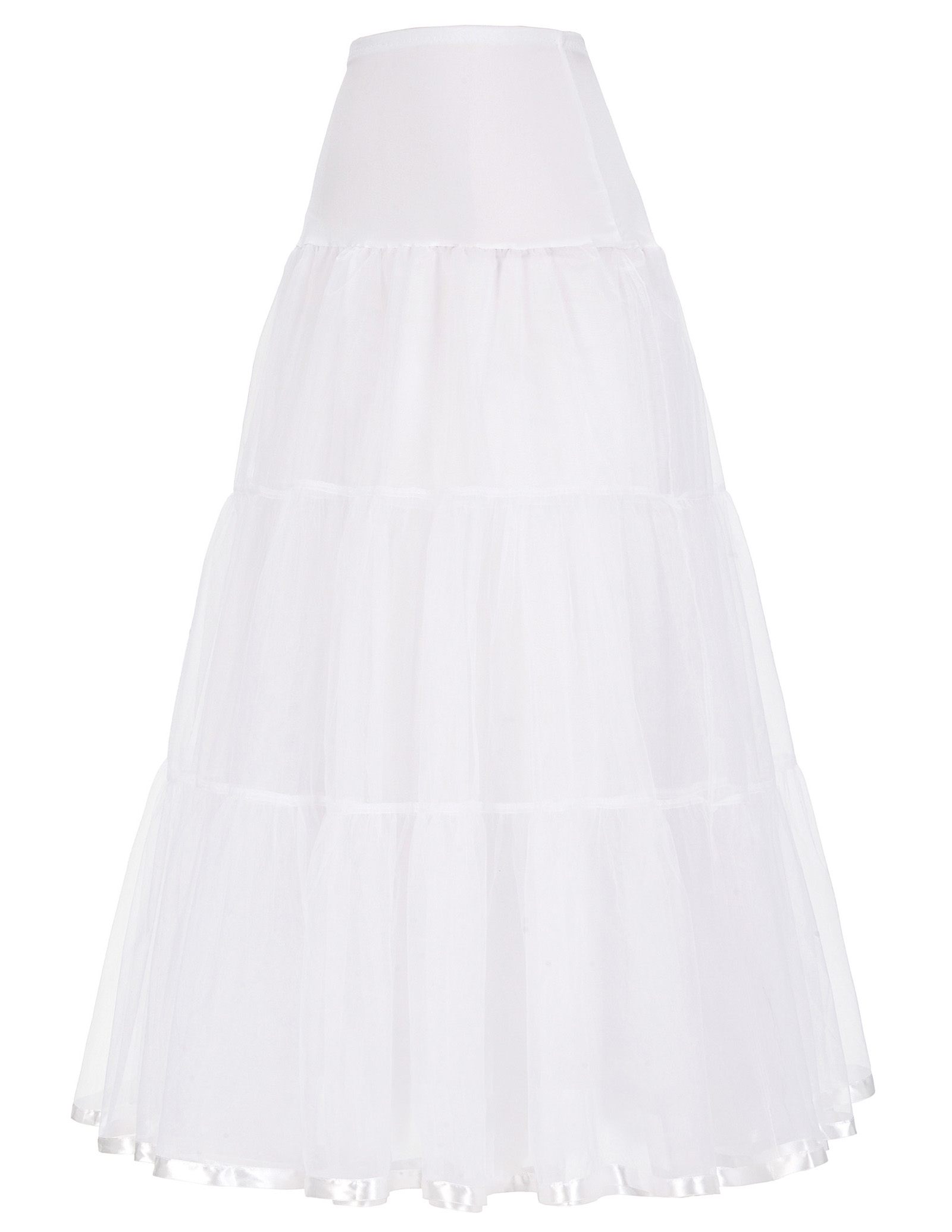 GK vintage skirts Womens Retro solid color pleated shirred decor elastic high waist skirt Crinoline Petticoat Underskirt female