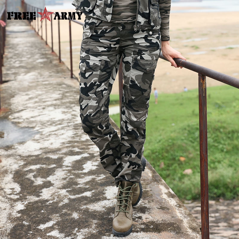 New Women's Military Uniform Pants Fashion Army Green Camouflage Plus Size 100% Cotton Causal Cargo Pants Women GK-9372B