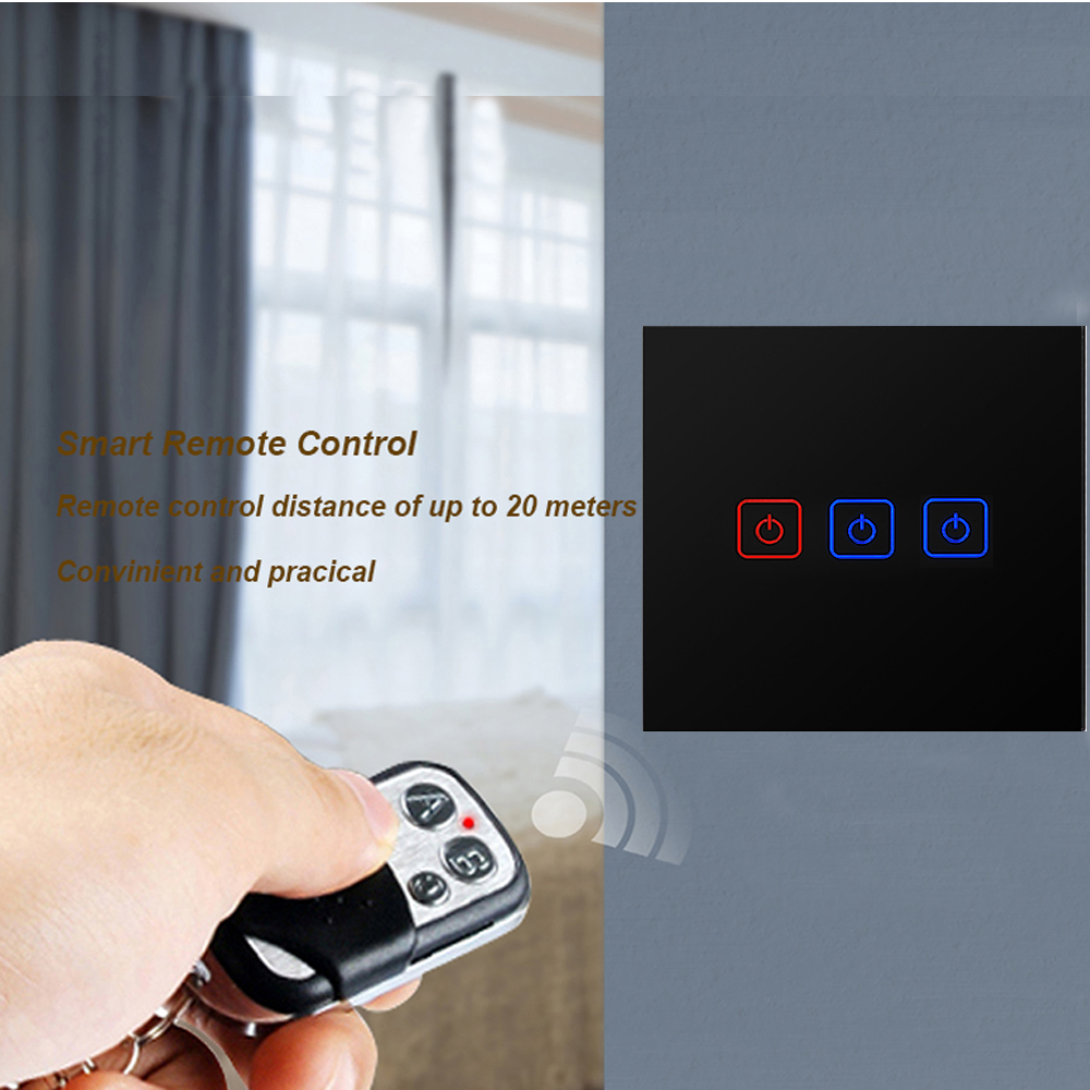 EU UK Standard Eruiklink Wireless Remote Control Light Switches 3 Gang 1 Way Wall Touch Switch 220V Light Touch Switch in Switches from Lights Lighting