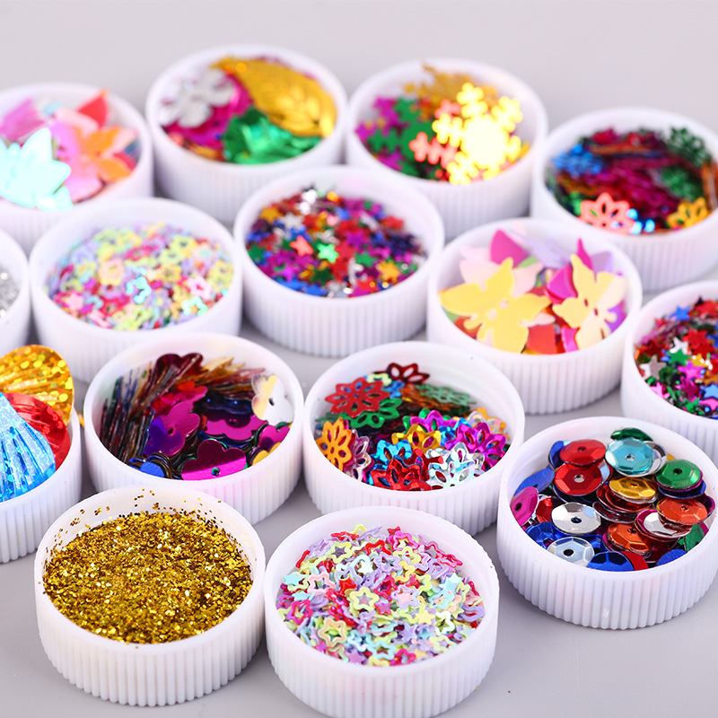 12PCS Colorful Flash Sequins Kindergarten Manual Material Garment Sewing Accessories For Child DIY Arts And Painting Decoration