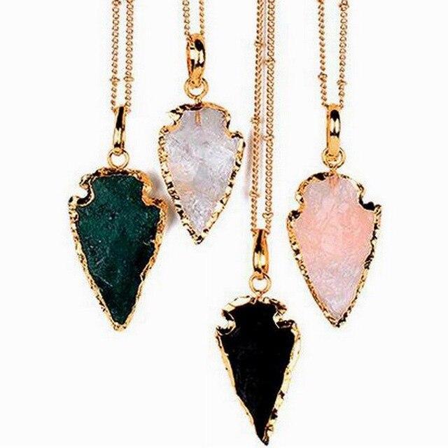 Бесплатная Доставка Классический Грубой Кристаллический Кварц Arrowhead Ожерелье Золото Женская Мода Бутик Ювелирных Изделий Обсидиан Arrowhead Ожерелье