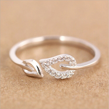 Rings for Women Silver 925 Purple Red Simulated Diamonds Engagement Cute leaves Ring Promotion Jewelry Wholesale Gift RJ105