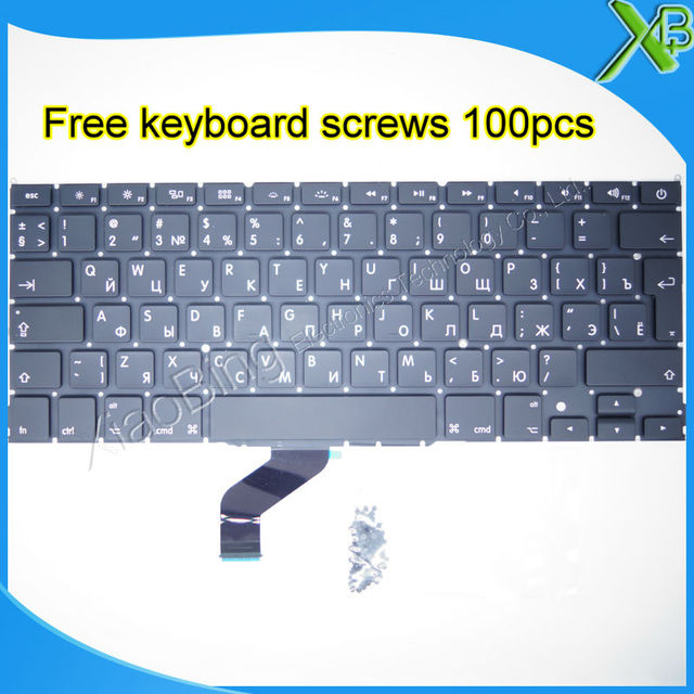 "Brand New For MacBook Pro Retina 13.3"" A1425 RU Russian keyboard+100pcs keyboard screws 2012 Year"
