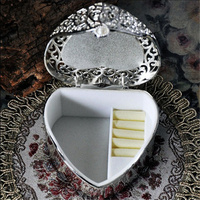 Single Heart Shape Vintage European Korean Princess Jewelry Box Desktop Storage Box Home Decoration Desk Sets