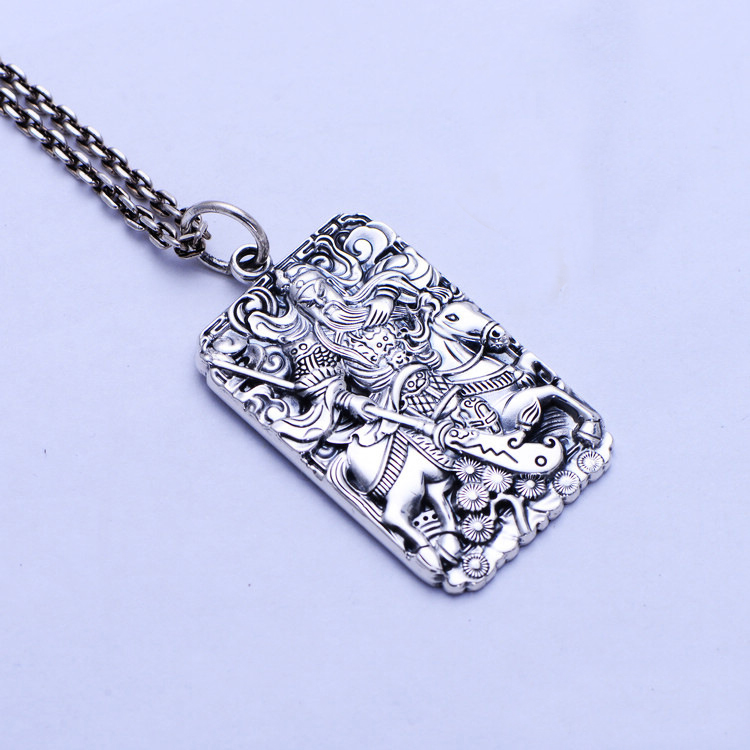 Loyalty Domineering Guan Yu 999 Sterling Silver Retro Necklace Pendant Men Thai Silver Fine Jewelry Gift CH055955 loyalty